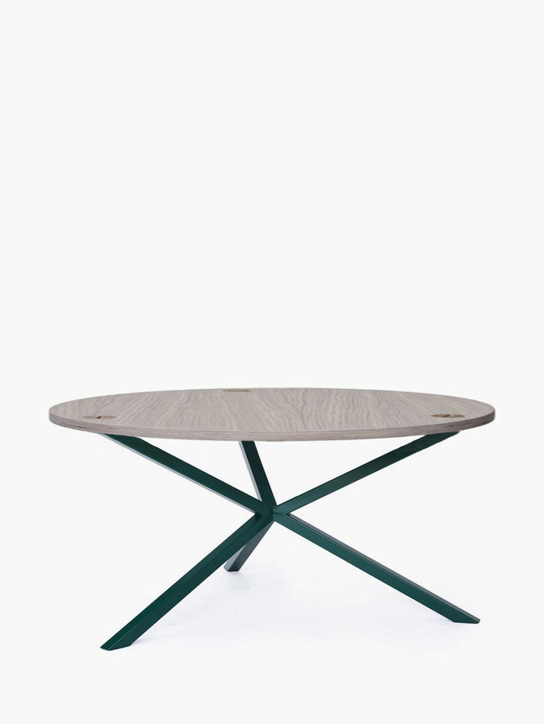 NEB Round Coffee Table – Clear Oak/Green – Ø100 – Low