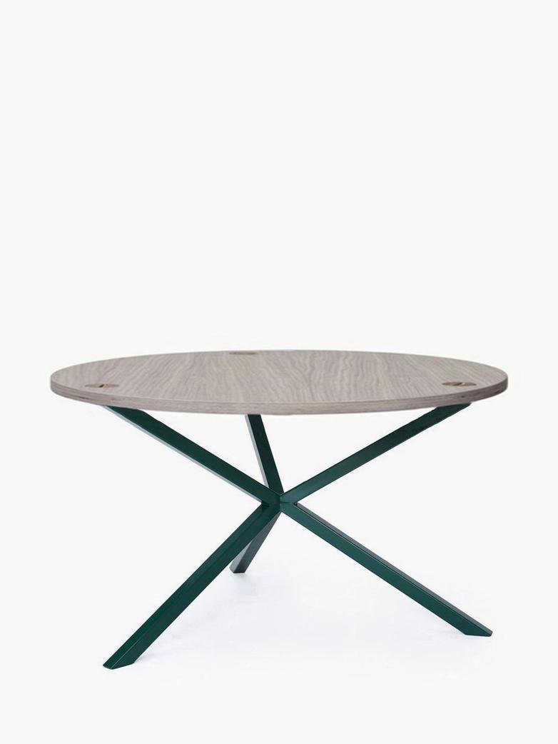 NEB Round Coffee Table – Clear Oak/Green – Ø100 – High