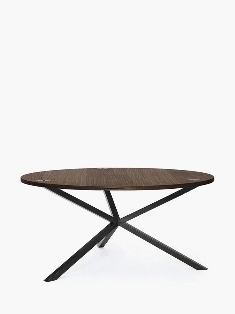 NEB Round Coffee Table – Walnut Colored Oak/Black – Ø80 – Low