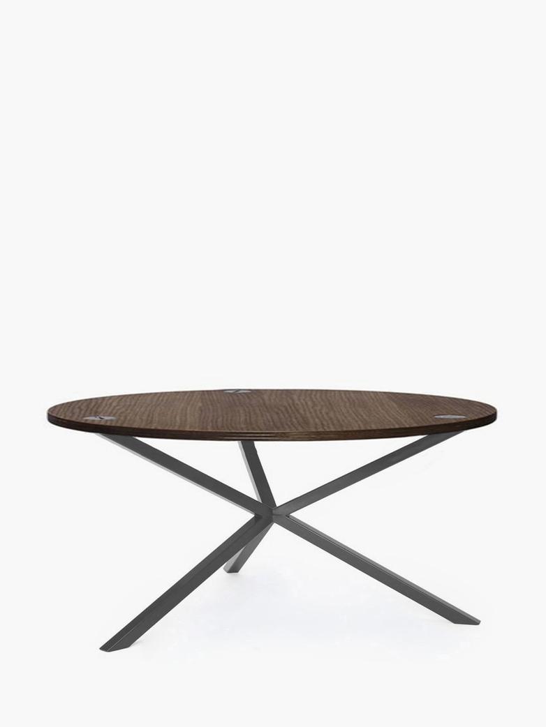 NEB Round Coffee Table – Walnut Colored Oak/Grey