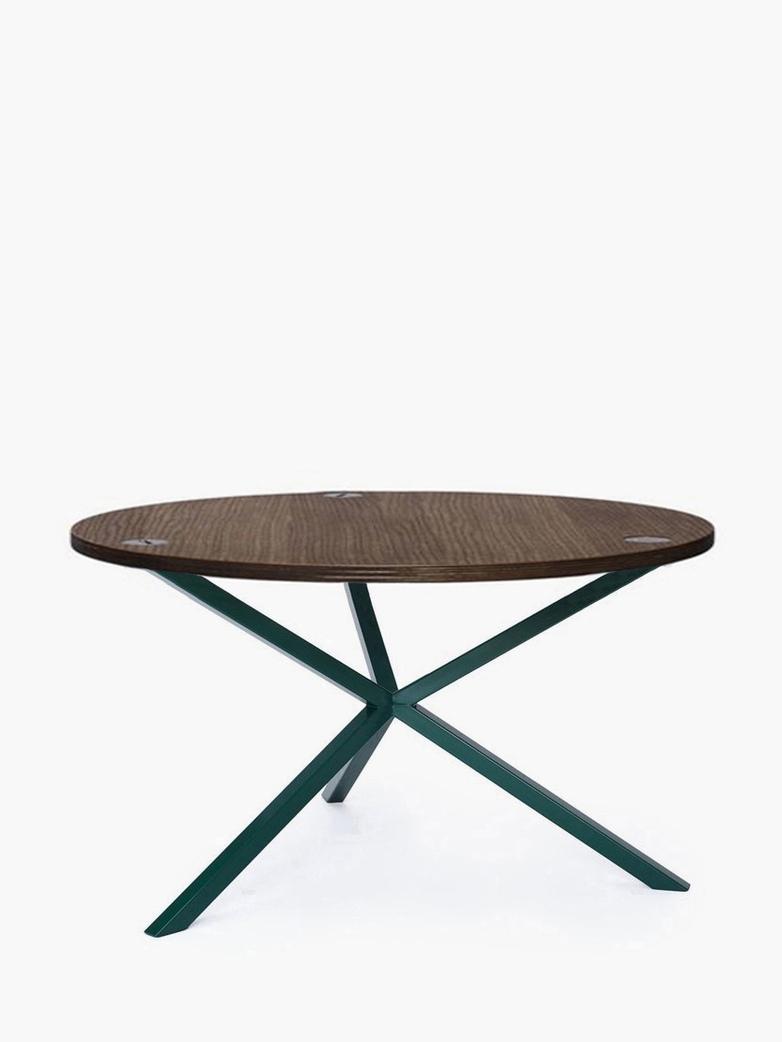 NEB Round Coffee Table – Walnut Colored Oak/Green – Ø80 – High