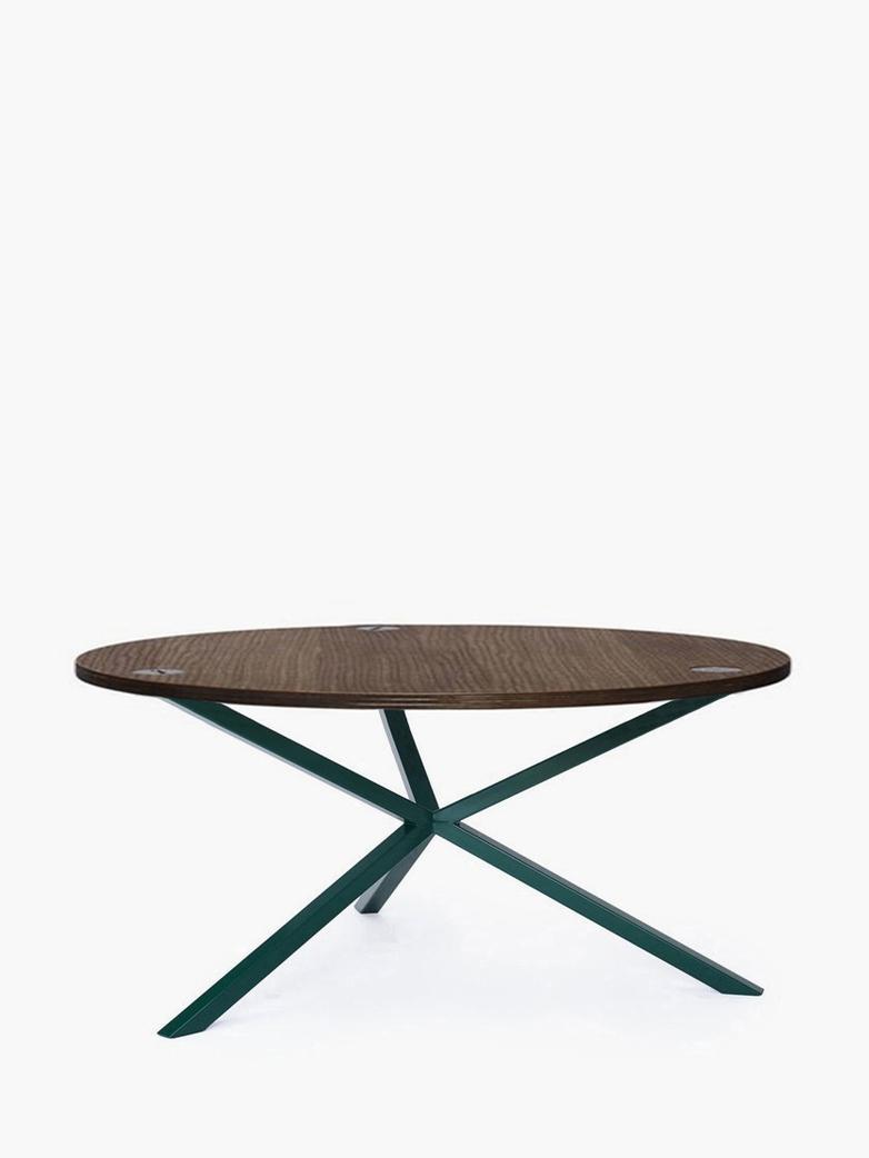 NEB Round Coffee Table – Walnut Colored Oak/Green – Ø100 – Low