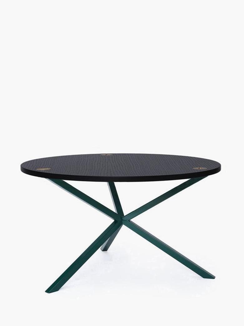 NEB Round Coffee Table – Black Oak/Green – Ø80 – High