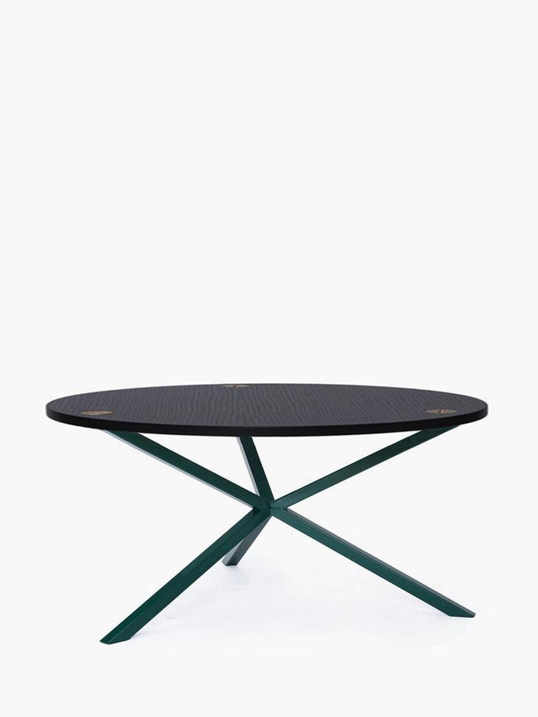 NEB Round Coffee Table – Black Oak/Green – Ø100 – Low