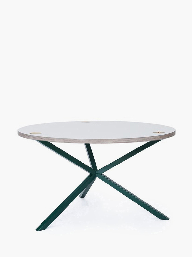 NEB Round Coffee Table – White Laminate/Green – Ø80 – High
