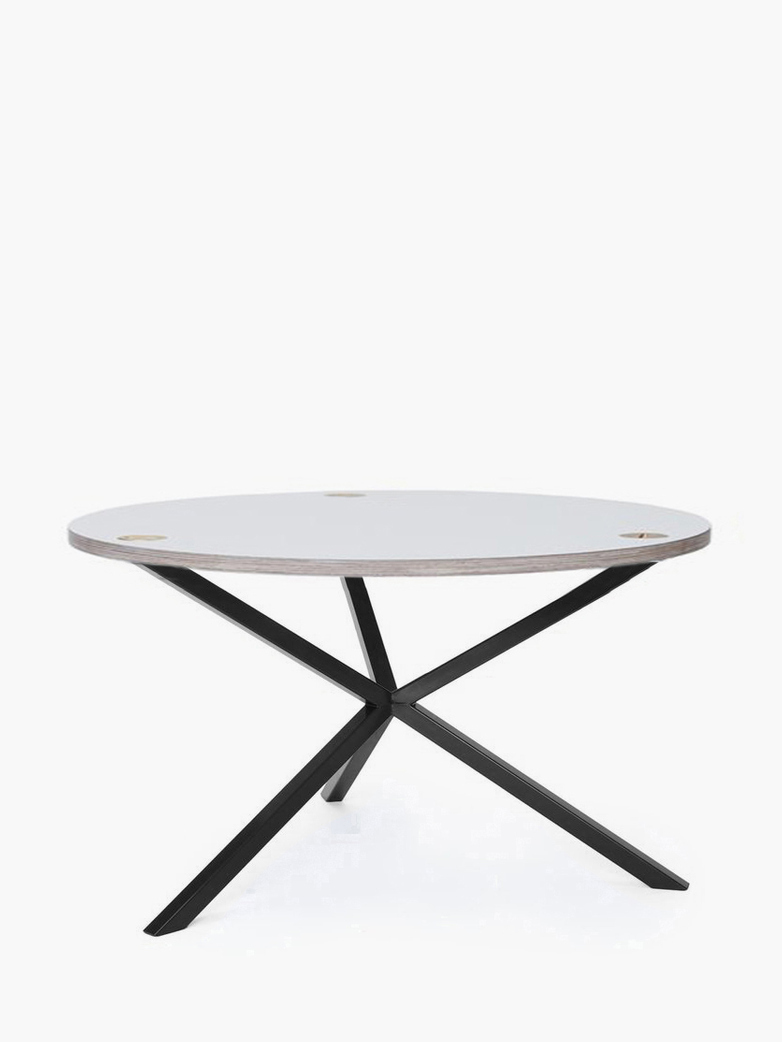 NEB Round Coffee Table – White Laminate/Black – Ø80 – High
