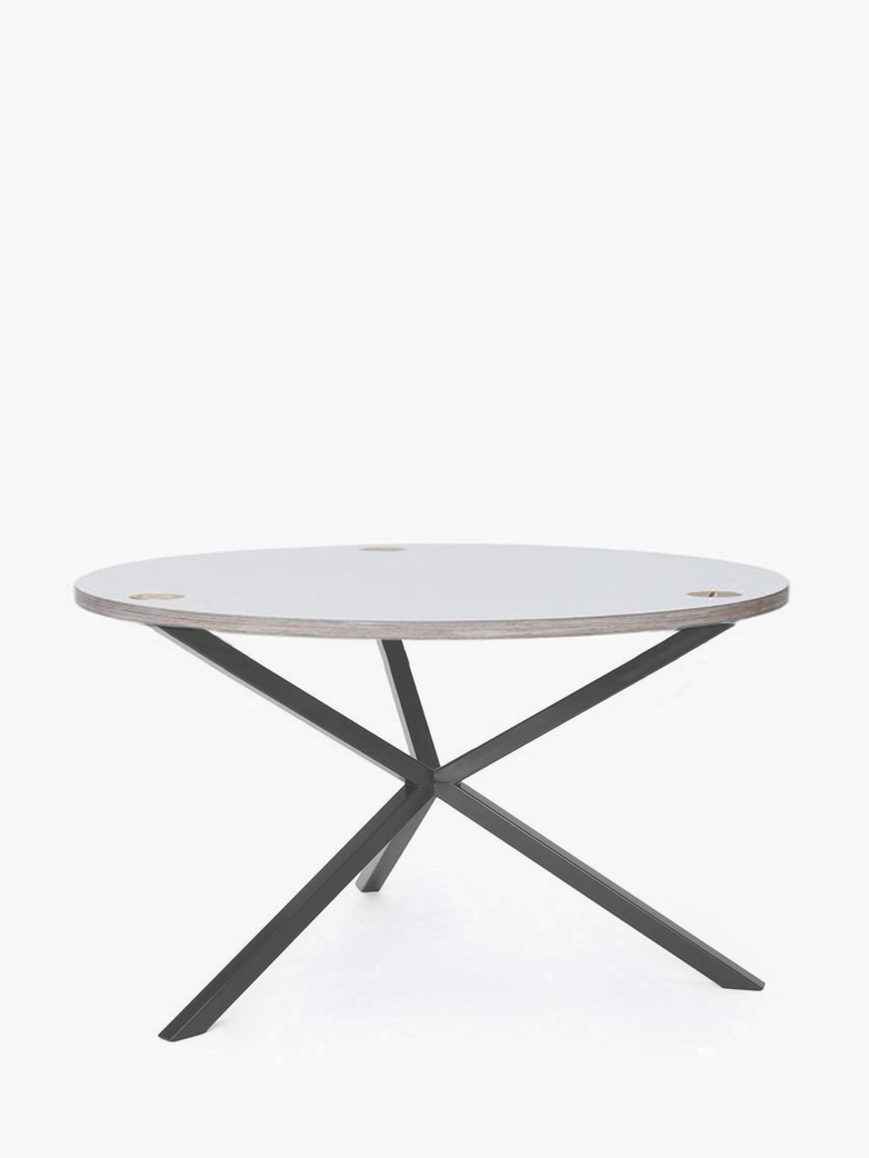 NEB Round Coffee Table – White Laminate/Grey – Ø80 – High