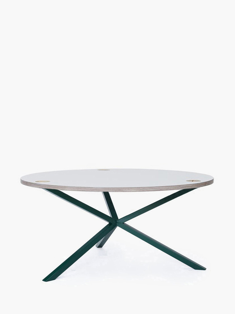 NEB Round Coffee Table – White Laminate/Green – Ø100 – Low