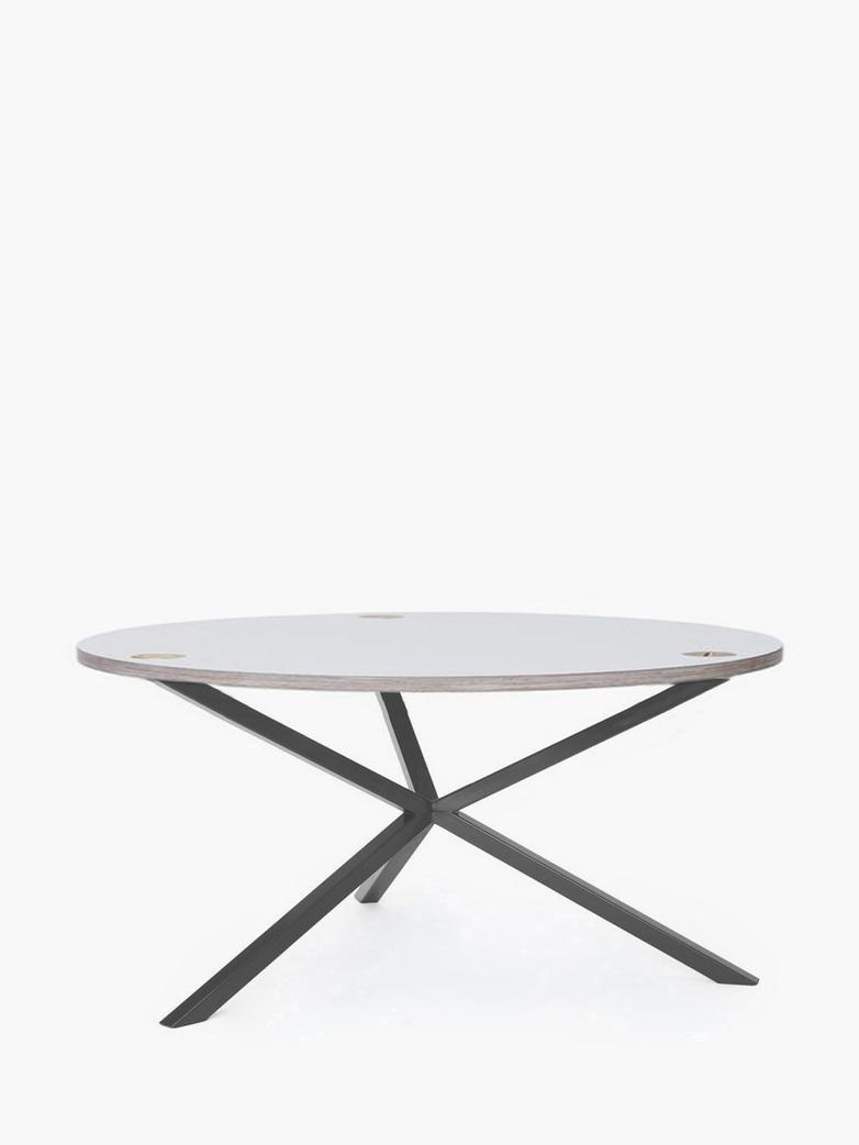 NEB Round Coffee Table – White Laminate/Grey – Ø100 – Low
