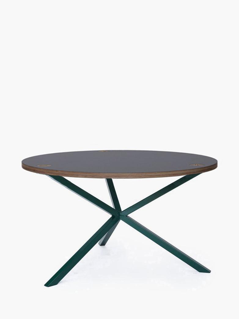 NEB Round Coffee Table – Grey Laminate/Green – Ø80 – High