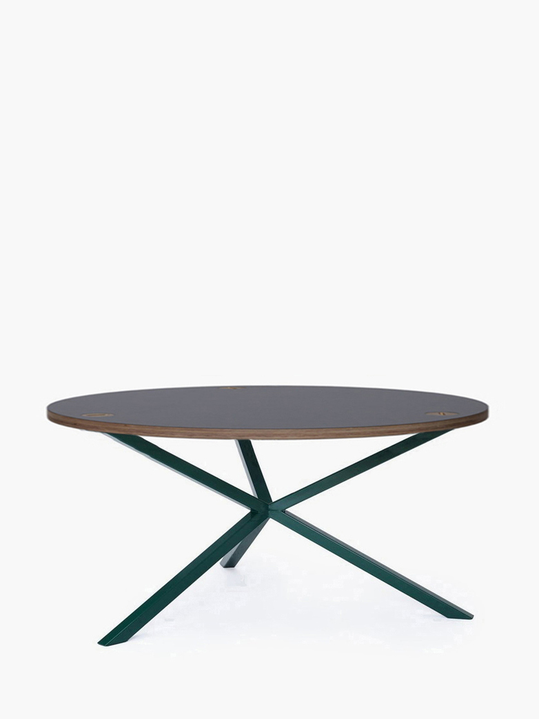 NEB Round Coffee Table – Grey Laminate/Green – Ø100 – Low