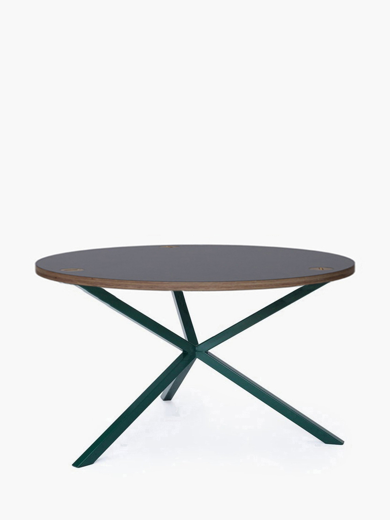 NEB Round Coffee Table – Grey Laminate/Green – Ø100 – High