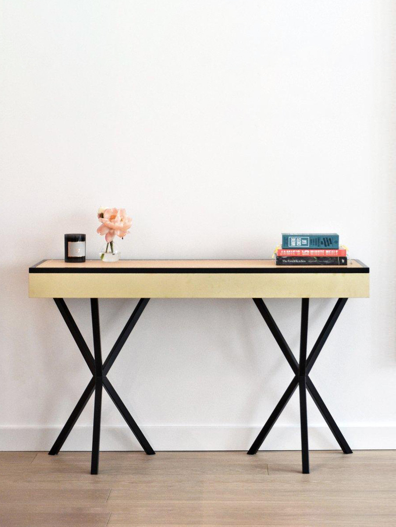 NEB Writing Desk – Brass/Black/Natural