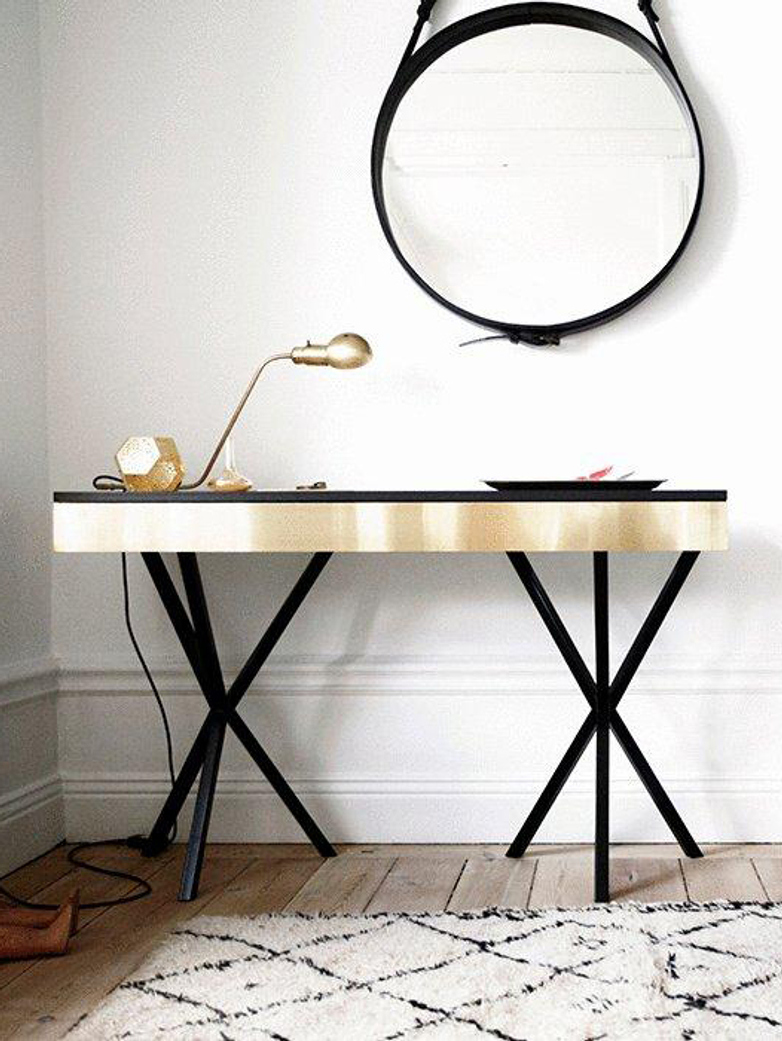 NEB Writing Desk – Brass/Black/Black
