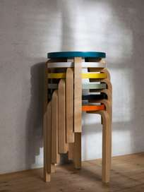 Stool 60 - Birch Petrol