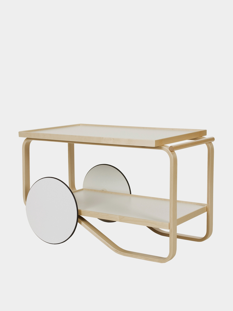 Tea Trolley 901 - Birch - Shleves With White IKI HPL