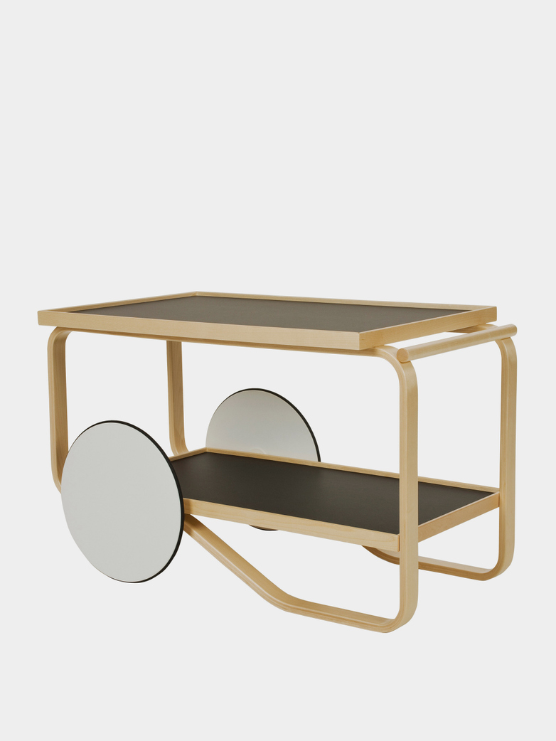 Tea Trolley 901 - Birch - Shleves With Black Linoleum