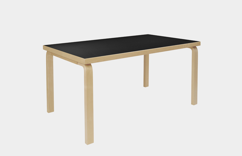 Aalto Table Rectangular 80B - Black Linoleum