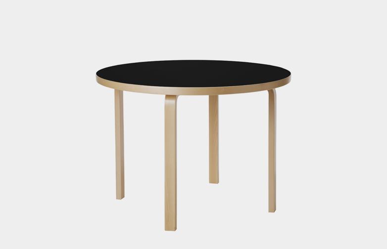 Aalto Table Round 90A - Black Linoleum - 100cm