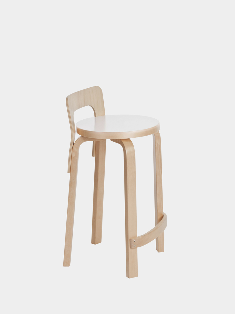 High Chair K65 - Seat IKI White HPL - Edge Natural Birch