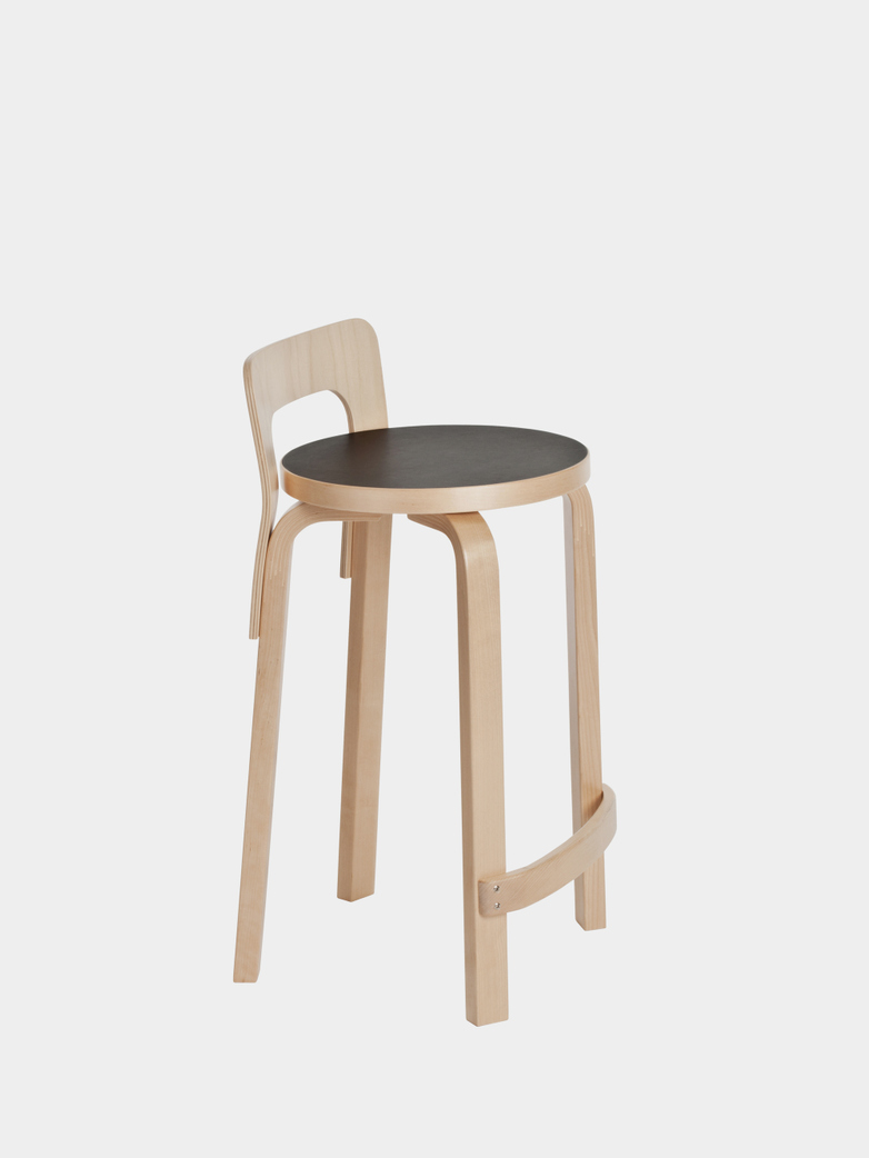 High Chair K65 - Seat Black Linoleum - Edge Natural Birch