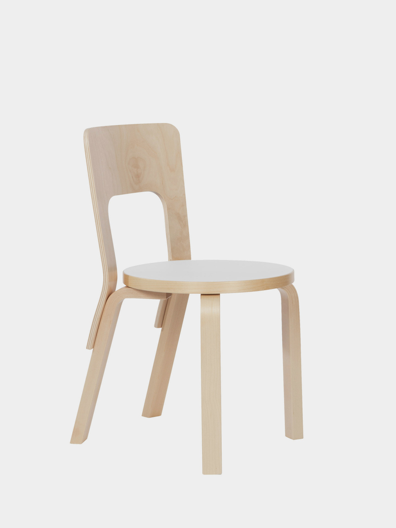 Chair 66 - Seat IKI White HPL - Edge Natural Birch