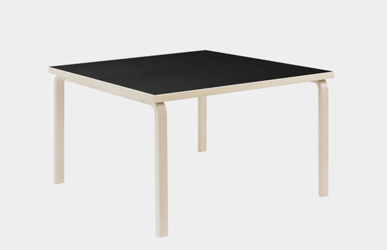 Aalto Table Square 81C - Black Linoleum