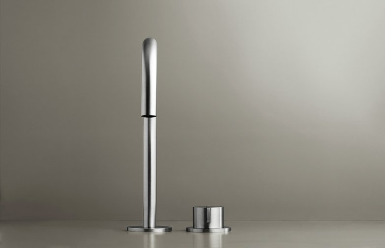 Piet Boon Stainless Steel - Deck Mounted Basin Mixer with Deck Mounted Swivel Spout
