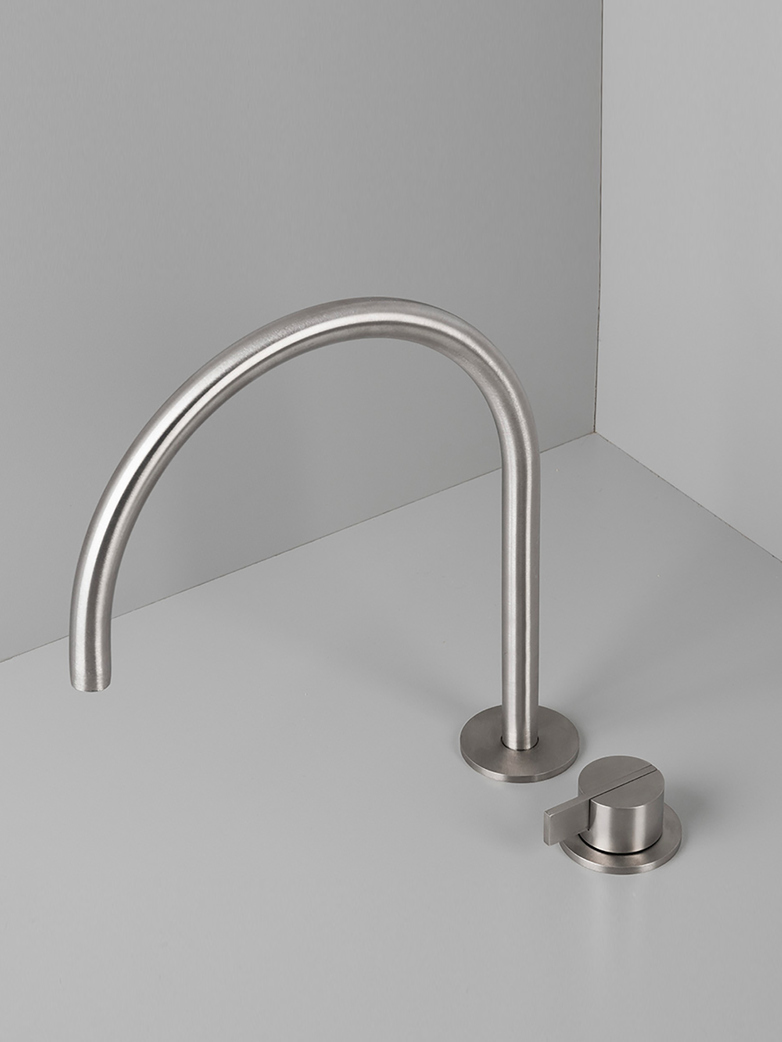 Piet Boon Stainless Steel - Deck Mounted Basin Mixer with Swivel Spout