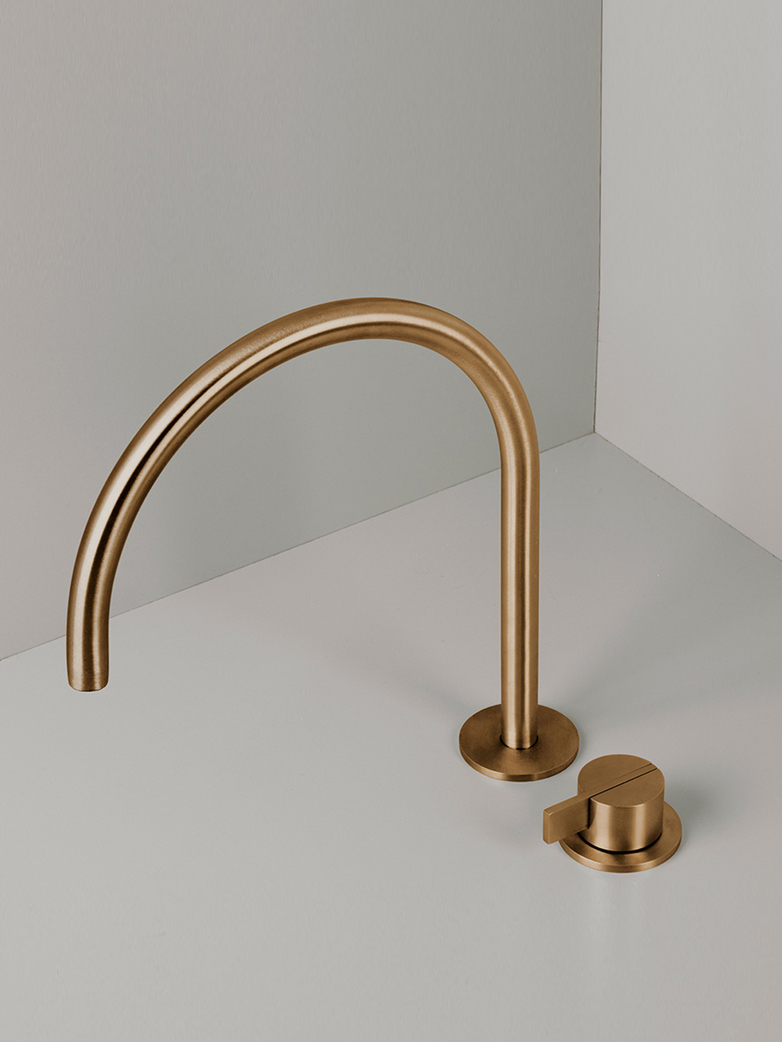 Piet Boon Raw Copper - Deck Mounted Basin Mixer with Swivel Spout