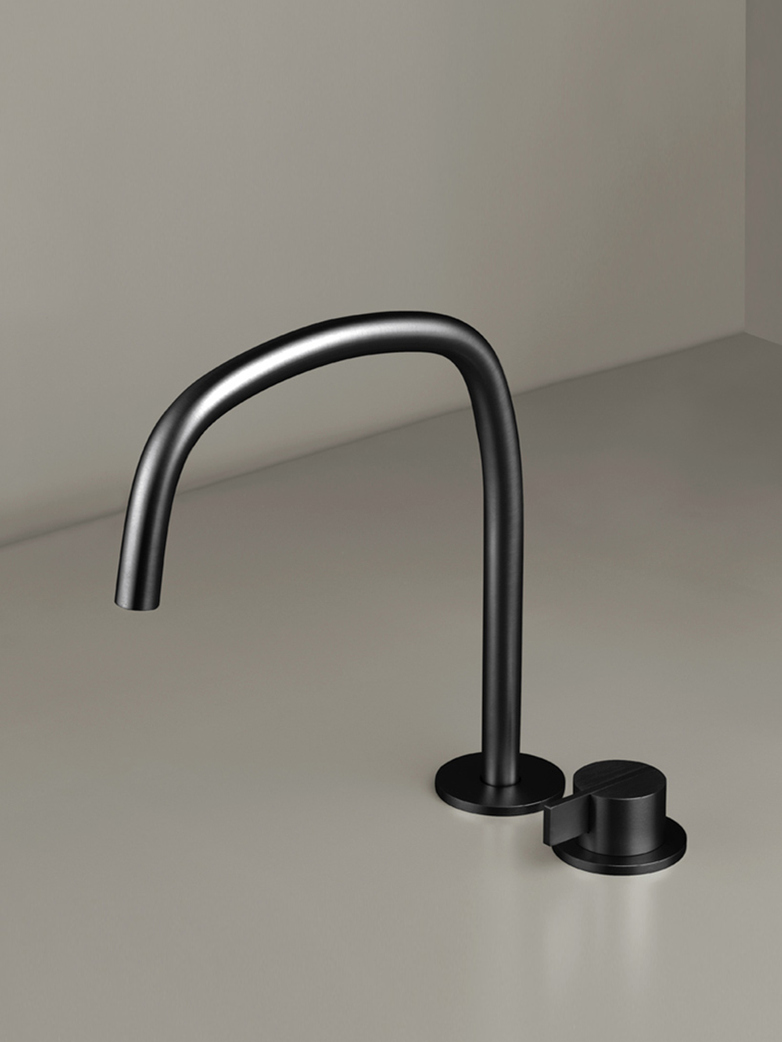 Piet Boon Gun Metal Black - Deck Mounted Basin Mixer with Deck Mounted Swivel Spout