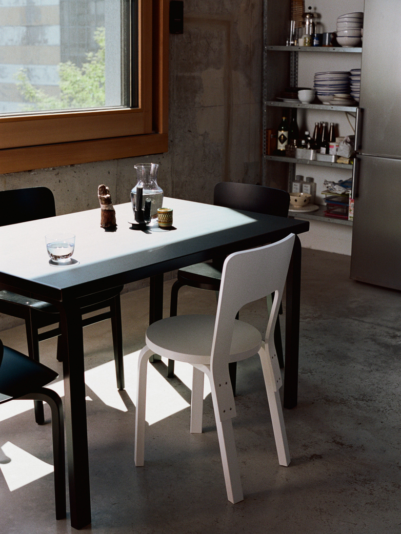 Aalto Table Rectangular 80B - Top Black Linolium - 100x60 cm