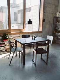 Aalto Table Rectangular 86A - Top Black Linolium - 240x100 cm