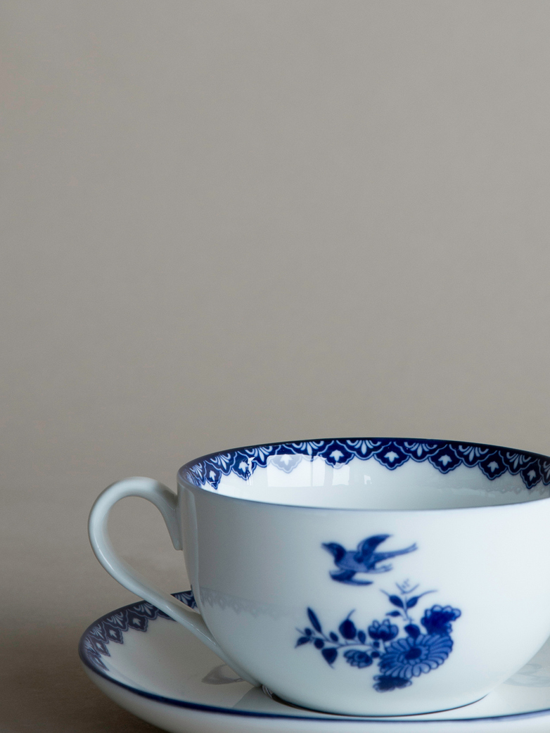 Delft Cup and Saucer Large Set of 2