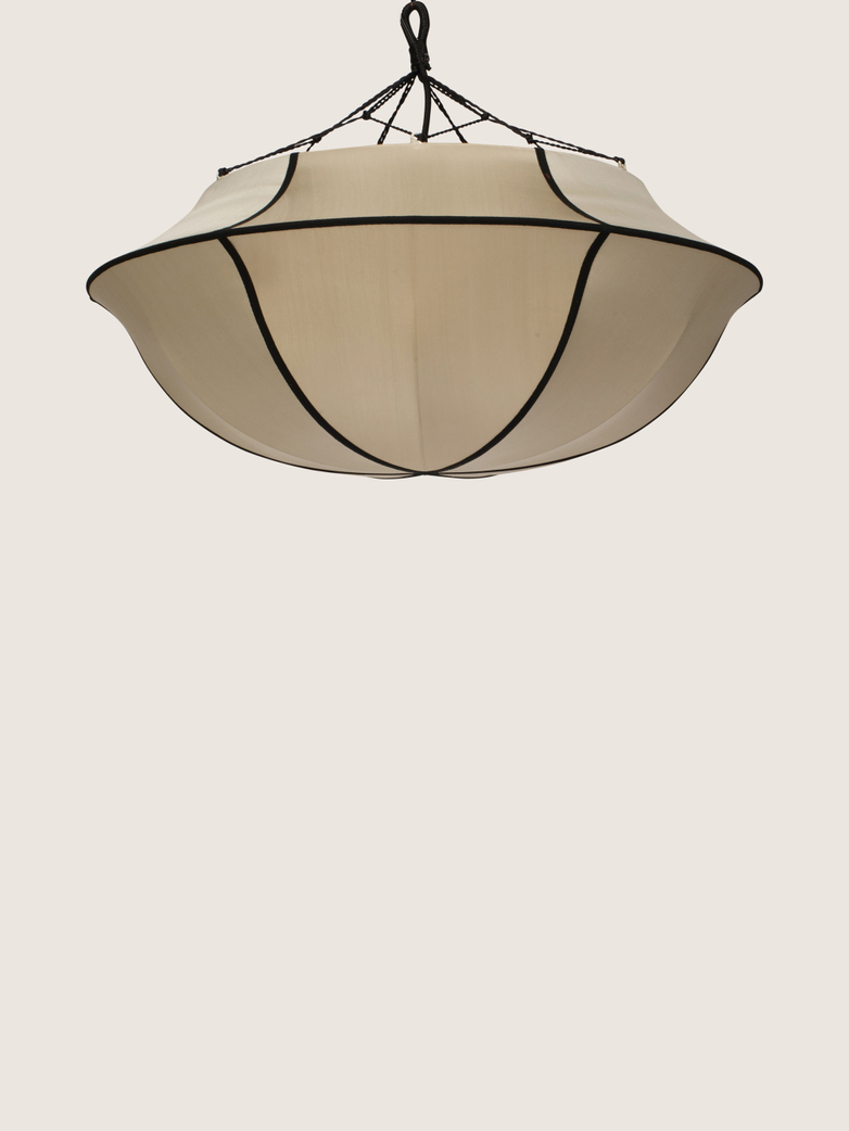 Bali Umbrella Silk Lamp - Beige/Black