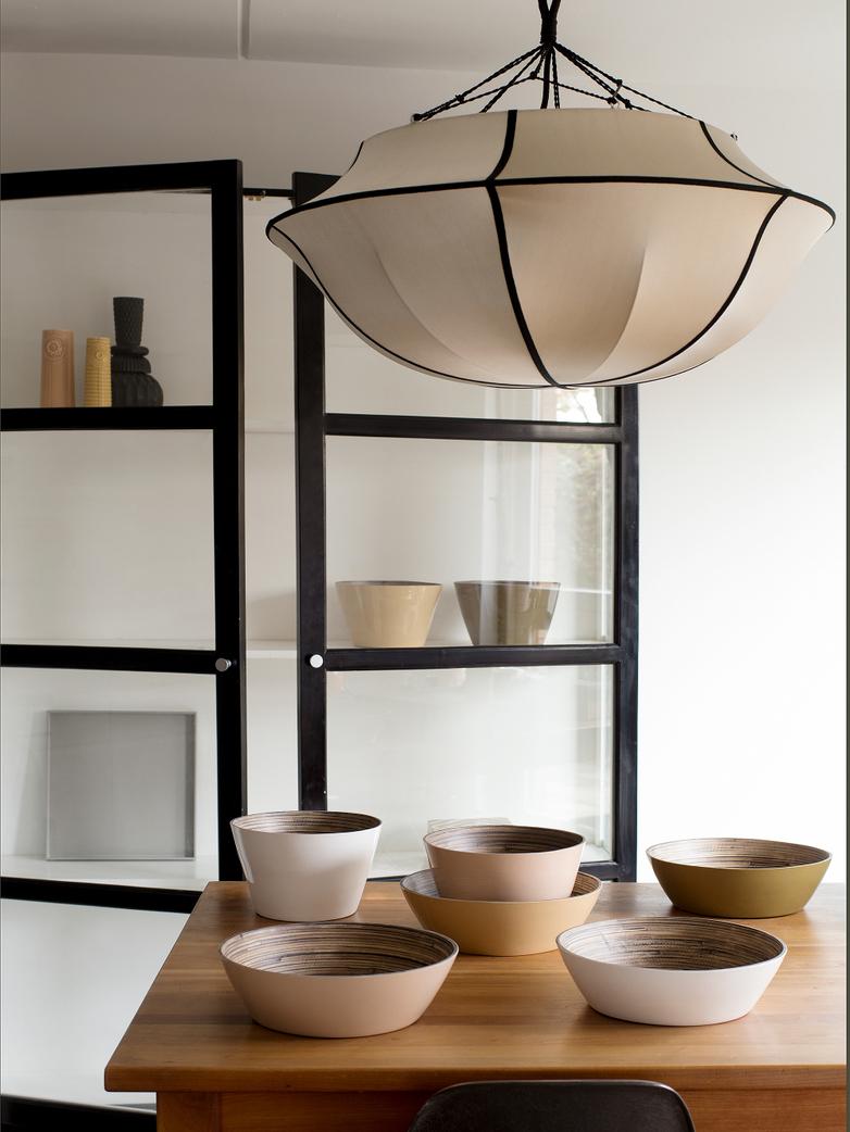 Bali Umbrella Silk Lamp - Beige/Black