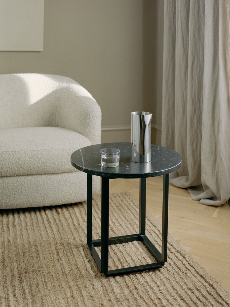 Florence Side Table – Black Marble – Ø50