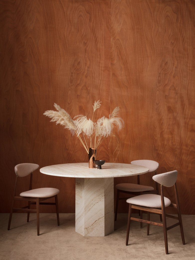 Epic Dining Table - White Travertine – Ø130