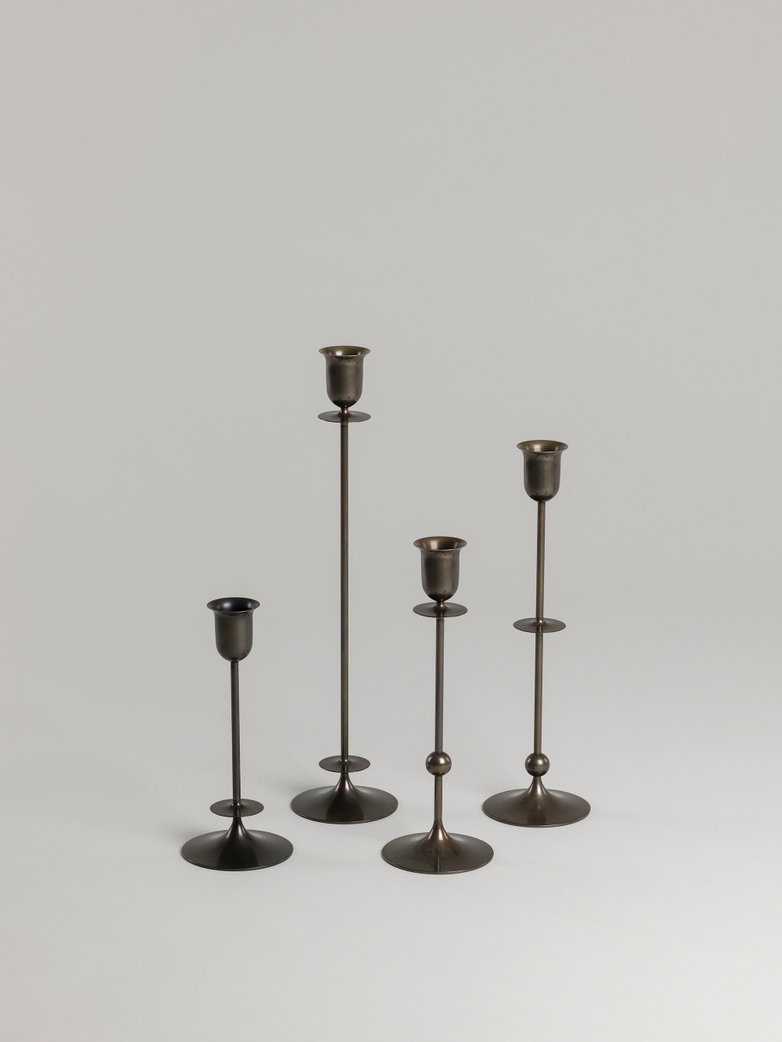 Totem Candle Holder - Blackened Brass