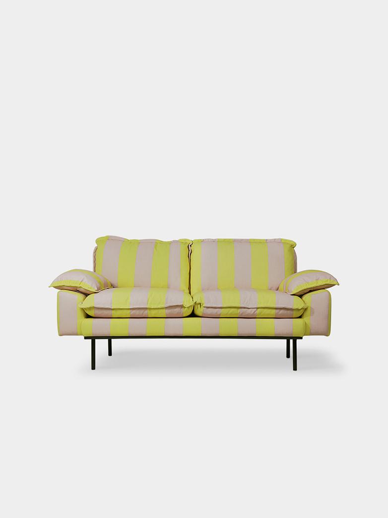 Retro sofa: 2-seats -  striped yellow/nude