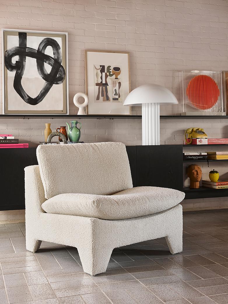 Retro lounge fauteuil - boucle cream