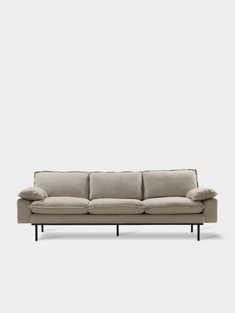 Retro sofa: 4-seats - cosy beige