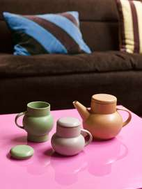 Mirror block table - pink - large