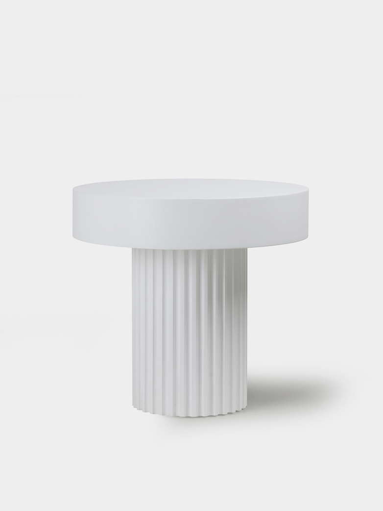 Pillar coffee table round - white