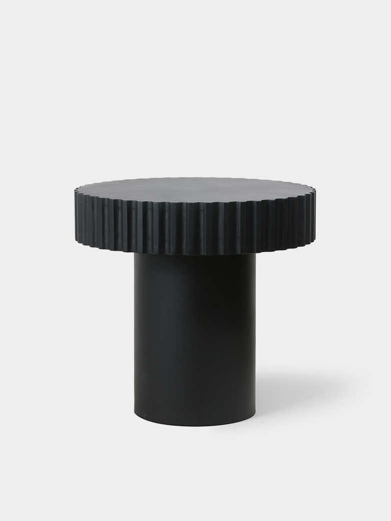 Pillar coffee table round - black