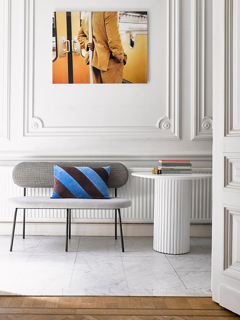 Pillar side table round - white