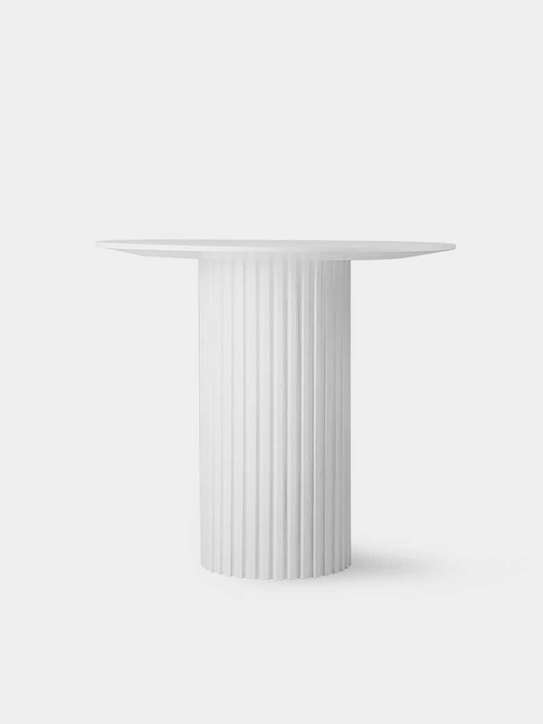 Pillar side table round - white