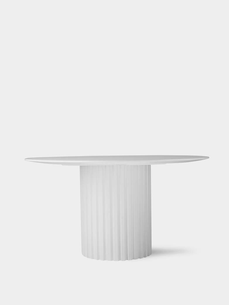 Pillar dining table round - white