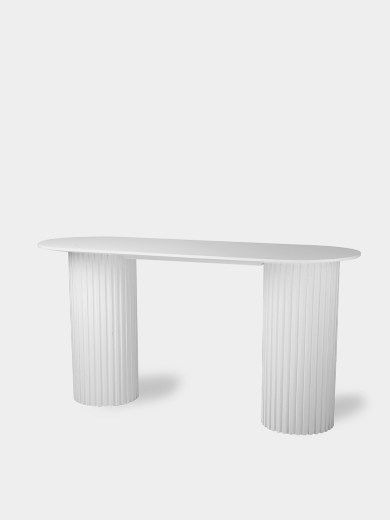 Pillar side table oval -  white