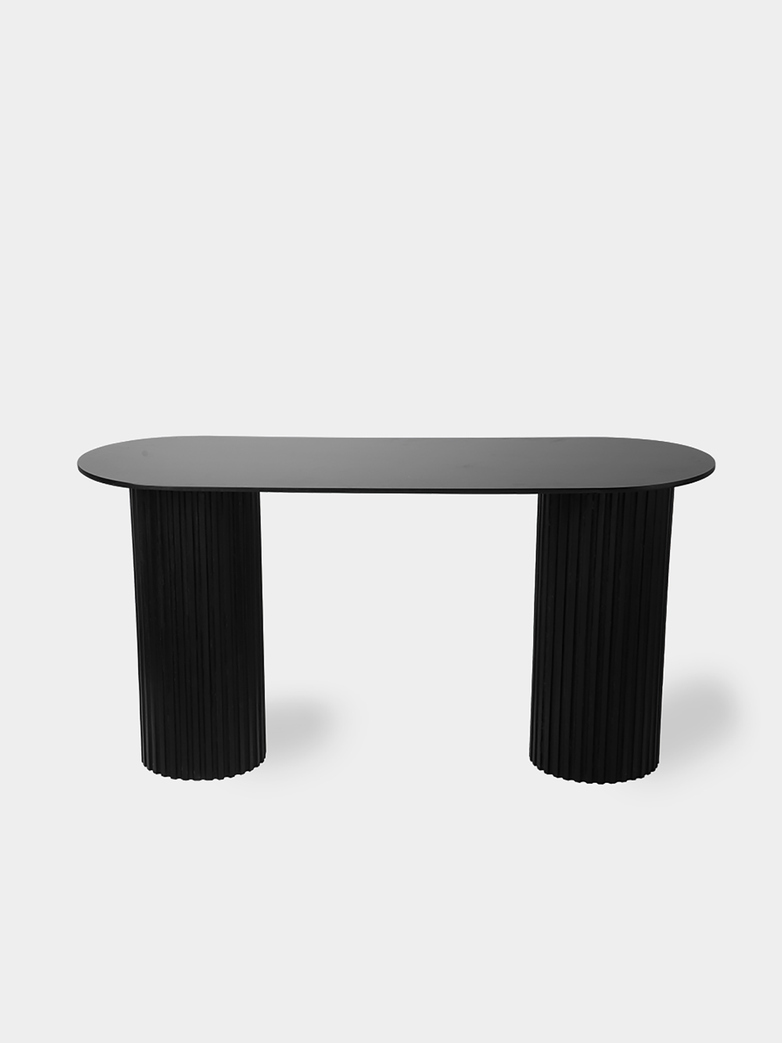 Pillar side table oval - black